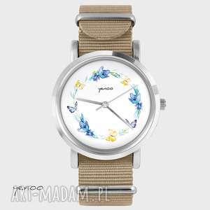 ręcznie robione zegarki zegarek, bransoletka - wianek, motyle - beżowy, nato