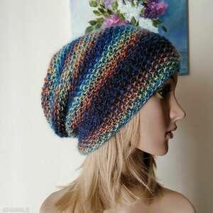 feeria barw czapka, czapka na drutach, rękodzieło, bezszwowa, bezszwowa