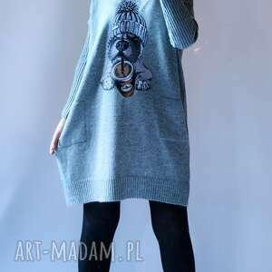sukienka oversize z aplikacją, sukienka, na prezent