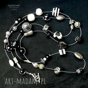 czerń i biel ponadczasowa i elegancka modny boho chic hand made - biało-czarne
