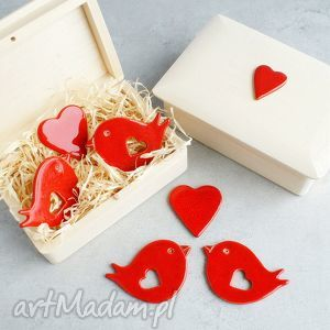 Prezent Zakochane ptaszki, romantyczne, walentynki, ślub, prezent, magnesy