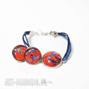 komplet - kolczyki i bransoletka sznureczki, czerwony, niebieski