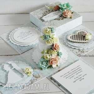 ślubny exploding-box z tortem - na zamówienie vairatka - prezent ślubny