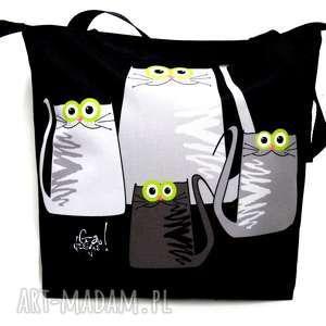 toba na zamek z motywem kotów, kot, koty, xxl, pojemna, torba