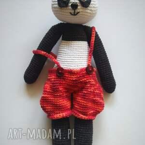 szydełkowa panda w pantalonach, maskotka, panda, pantalony, szydełko, włóczka