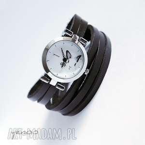 zegarek, bransoletka - królik czarny, owijany, bransoletka, skórzany