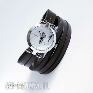 handmade zegarki zegarek, bransoletka - królik - czarny, owijany