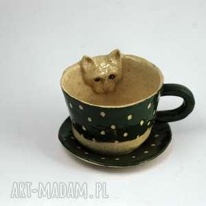 azulhorse ceramiczna filiżanka kubek z kotem zielono-beżowa, ceramika, okazja, zkotem