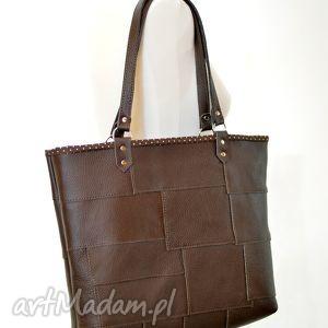 torba skórzana na ramię- brązowa z prostokątów, skóra, skórzana, torba, tote