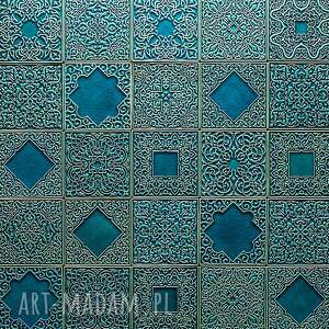 ceramika kafle turkusowe arabeski zestaw i, kafle, dekory, płytki, ścienne, handmade