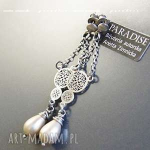 srebro kolczyki, naturalne perły ecri, perły, srebro, łańcuszki