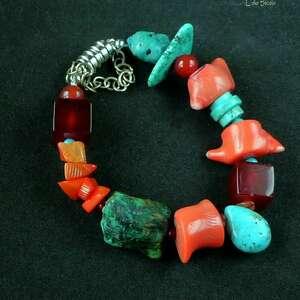 ręcznie robione koral turkus karneol. Bransoleta oryginalna, spektakularna dla