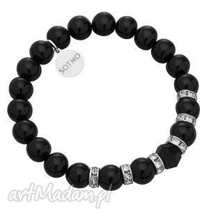 czarna bransoletka perły mystic black pearl kryształy, klasyczna