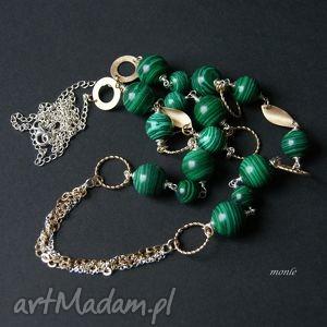 LoLo, naszyjnik z malachitu - ,malachit,pozłacane,srebro,naszyjnik,długi,biżuteria,