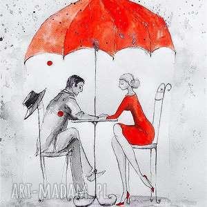 W DESZCZU akwarela artystki Adriany Laube - miłość, zakochani, romantyczny obraz