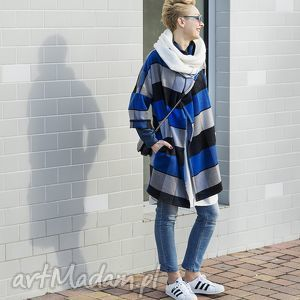 narzutka blu griglia - narzutka, outfit, płaszcz, jesień, zima, kratka