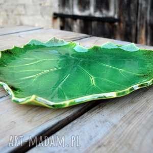 patera ceramiczna - liść, ceramika, patera, talerz, misa, wystrój, prezent