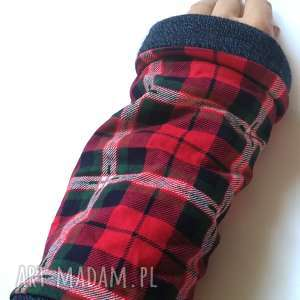 Mitenki w kratkę ciepłe rękawiczki ruda klara rękawiczki
