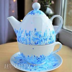 Prezent Filiżanka z imbryczkiem Niebieska, filiżanka, imbryk, porcelana
