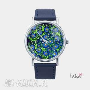 Prezent Zegarek z grafiką MODRA ŁĄCZKA, kwiaty, niezapominajki, wiosna, prezent
