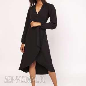 sukienki asymetryczna, kopertowa sukienka, suk160 czarny