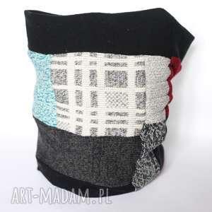 kolorowy damski męski patchworkowy komin, wełna, męski, etno, ciepły