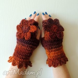 hand-made rękawiczki mitenki złociste