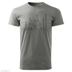 koszulki tatra art by oliwia wysocka - camping pod tatrami szara koszulka męska