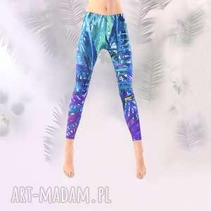 legginsy kolorowe jungle, kolorowe, wzory, palmy, legginsy, artystyczne
