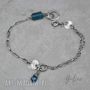 srebrna bransoletka z niebieskim apatytem 086, apatyt, srebro 925, surowe