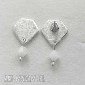 kolczyki diament kolczyki, srebro, swarovski, zmatowione, pod choinkę prezenty
