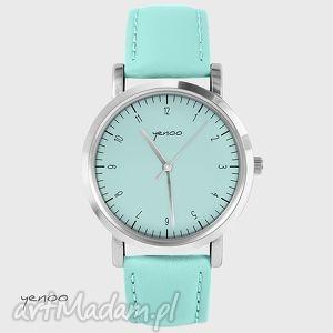 zegarek, bransoletka - simple elegance turkusowy, skórzany