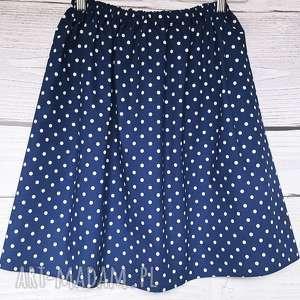 hand-made spódnice granatowa spódniczka w białe kropki