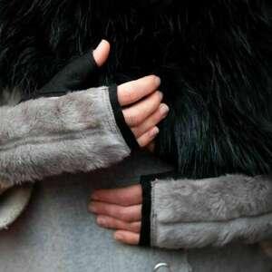 rękawiczki bezpalcowe z futerkiem czarne, bezpalcowe, futerko, bez