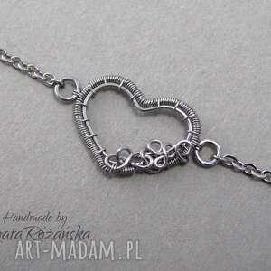hand-made naszyjniki delikatny naszyjnik serce, wire wrapping, stal chirurgiczna