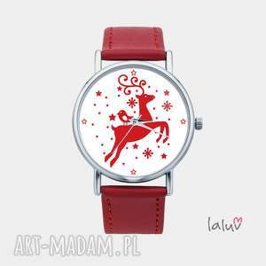 zegarek z grafiką rudolf, renifer, święta, zwierzę, grafika, prezent, świąteczny