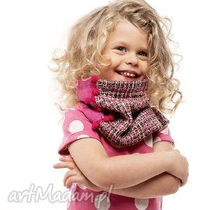 hand made ubranka ciepły wygodny dzianinowy komin szalik pink tweed