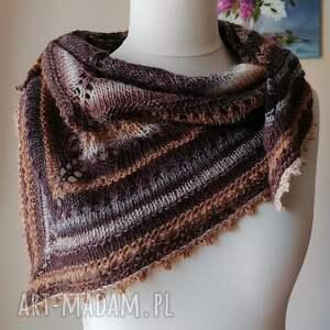 rustykalna chusta z karmelem, rękodzieło, na drutach, ręcznie wykonana
