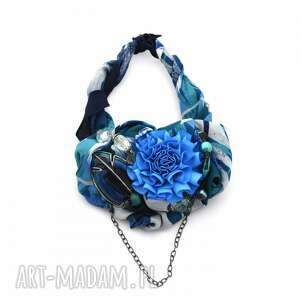 święta prezent, deep blue naszyjnik handmade, naszyjnik, kolia, kolorowy, niebieski