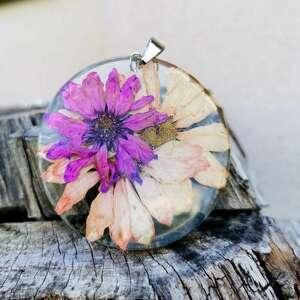 naszyjniki naszyjnik z prawdziwymi kwiatami zatopionymi w żywicy z432, suszone