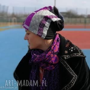 czapka patchworkowa fioletowa orient etno, czapka, boho, fiolet, patchwork