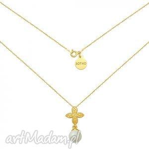hand-made naszyjniki złoty naszyjnik z rozetką i szarą perłą swarovski® crystal