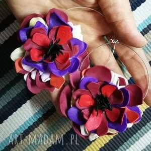 Klipsy kwiaty kolorowe lekkie jak piórko ruda klara klipsy