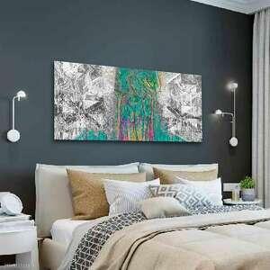nowoczesny obraz abstrakcja las 150x60, nowoczesny, z turkusem