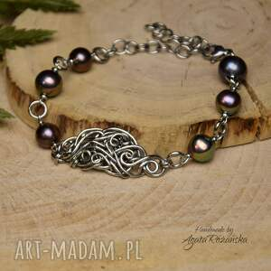 bransoletka perły, stal chirurgiczna, wire wrapping, bransoletka