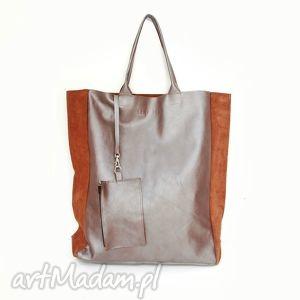 na ramię torba shopper pro, skóra, torba, ręcznie, szyta, uszyta