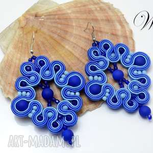 kolczyki sutasz niebieskie, kolczyki, sutasz, eleganckie, modne, prezenty