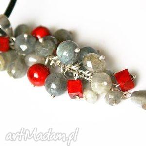 srebrny wisior labradoryt na rzemieniu, naszyjnik, wisior, srebro, labradoryt, grono