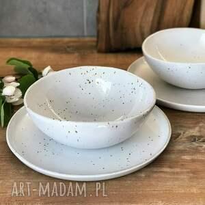 zestaw ceramiczny dla dwojga - 2 x talerz plus miska, ceramika