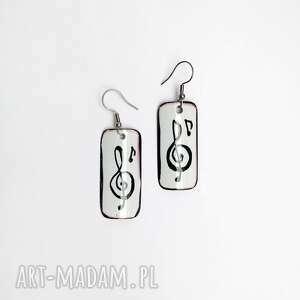 Kolczyki klucz wiolinowy langner design wiolinowy, muzyka, nuty,